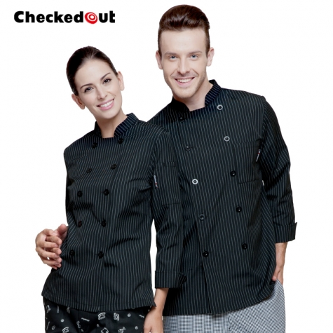 black with white stripes chef jacket chef coat