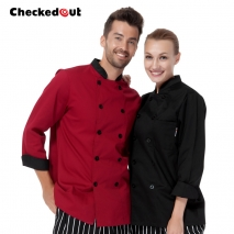 unisex rollover sleeve double breasted chef jacket coat