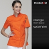 short sleeve orange coateye-catching solid color women chef jacket uniform