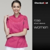 short sleeve rose coateye-catching solid color women chef jacket uniform