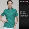 short sleeve green coateye-catching solid color women chef jacket uniform