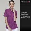 short sleeve purple  coateye-catching solid color women chef jacket uniform
