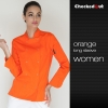 long sleeve orange coateye-catching solid color women chef jacket uniform
