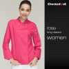 long sleeve rose coateye-catching solid color women chef jacket uniform