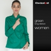long sleeve green coateye-catching solid color women chef jacket uniform