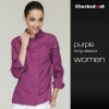 long sleeve purple coateye-catching solid color women chef jacket uniform
