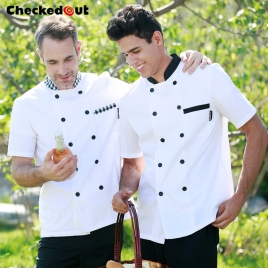 Checkered collar short sleeve unisex chef jacket