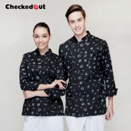 special cookware print baker coat chef jacket restuarant uniform