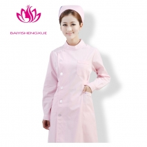 long sleeve round collar high quality female nurse coat uniform