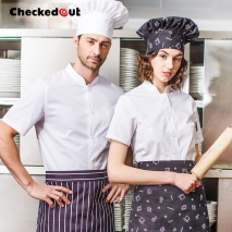 short sleeve single-breasted restaurant bread baker workswear chef coat
