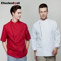 long sleeve side opening unisex chef  cooking uniforms for restaurant kitchen