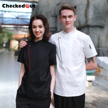 fashion right opening unisex chef pullover coat for restaurant kitchen