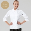 long sleeve women white jacketChinese style collar double breasted restaurant kitchen cook uniform coat