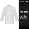 white black hem button coatautumn new design unisex double breasted good quality chef jacket coat