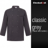 grey black hemautumn new design unisex double breasted good quality chef jacket coat