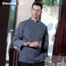 2016 fashion black color invisible button chef jacket workswear uniform