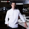 white chef coat2016 fashion black color invisible button chef jacket workswear uniform