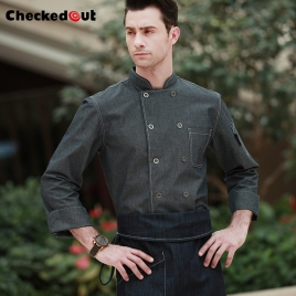 fashion denim cowboy western style chef blouse jacket uniform