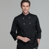men chef coat blcksimple basic design double breasted chef jacket uniform workswear