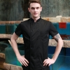 unisex black coatsummer short sleeve  chef jacket coat with holes on back