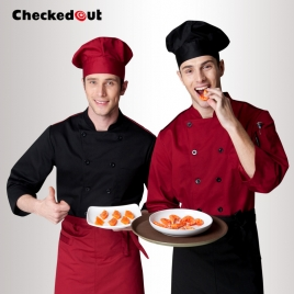 casual classic double breasted long sleeve chef blouse uniform