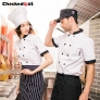 short sleeve contrast collar cuff summer chef tops blouse