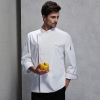 unisex white (red hem) coatcontrast hem overlap invisible button chef uniform coat