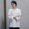 unisex white(sapphire hem)contrast hem overlap invisible button chef uniform coat
