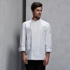 unisex white (black hem) coatfashion invisible button chef uniform coat bread shop uniform