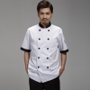unisex white(stripes collar) coatstripes collar cuff fashion cook chef jacket chef uniform