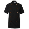 unisex black(orange button) coatshort sleeve summer candy clothing button chef uniform chef jacket