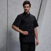 unisex black coatshort sleeve snap button design chef jacket suit
