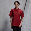 unisex wine coatshort sleeve snap button design chef jacket suit