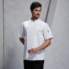 unisex white(black hem) coatfashion Asian restaurant food kitchen chef jacket uniform