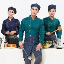 fashion upgrade denim like fabric chef coat jacet