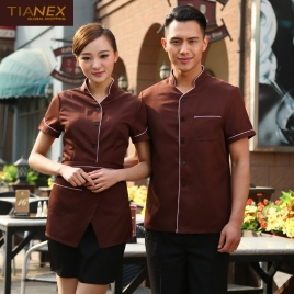 brown color coffee milk house waiter waitress shirt uniform
