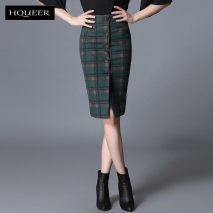 office style wool winter plaid skirt