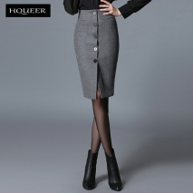 Europe design woolen fabric button lady skirt