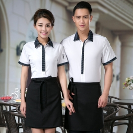 summer short sleeve Chinese food restaurant waiter shirts
