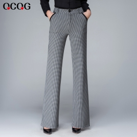 grid print checker women pant