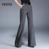 Light GrayEurope stripes young women flare  trousers lady pant