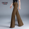 Light BrownEurope stripes young women flare trousers lady pant
