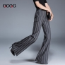 Europe wide stripes young women flare pant trousers