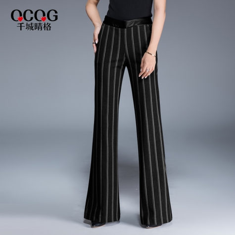 Europe stripes young women flare  trousers lady pant