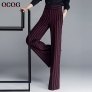 office style wine black stripes women pant trousers
