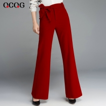 fashion bow belt office lady flare pant