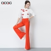 Orangespring design bare bottom women flare pant
