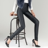 high waist design winter fleece women  legging leather pant
