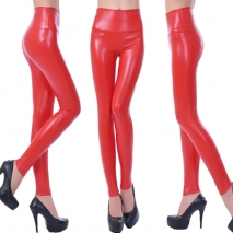 fashion sexy leather PU high rise deisgn women pant legging