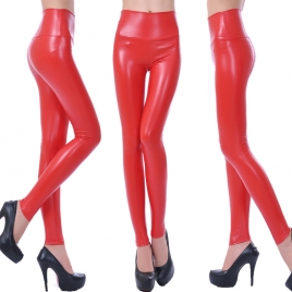 fashion high waist PU leather skinny  women's leggings pants